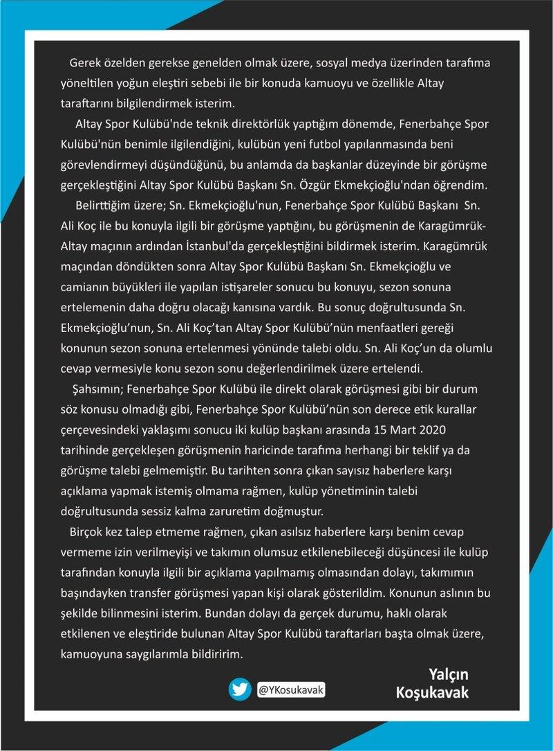 son dakika yalcin kosukavaktan fenerbahce aciklamasi 1596288730019 - Son dakika: Yalçın Koşukavak'tan Fenerbahçe açıklaması