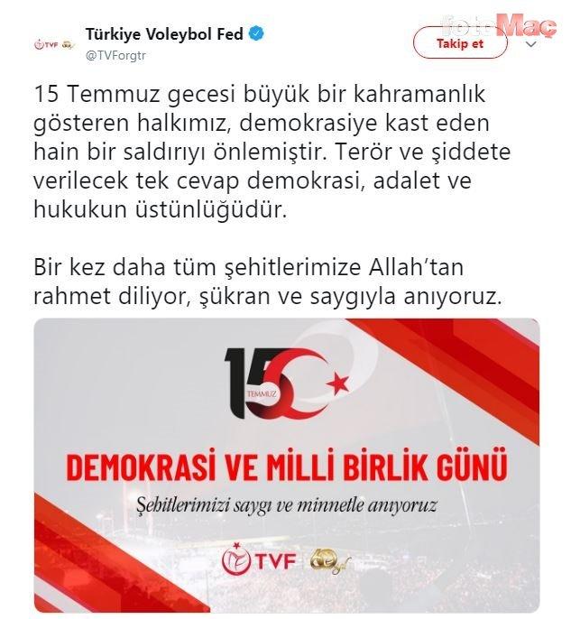 Spor camiasından 15 Temmuz Demokrasi ve Milli Birlik Günü paylaşımları