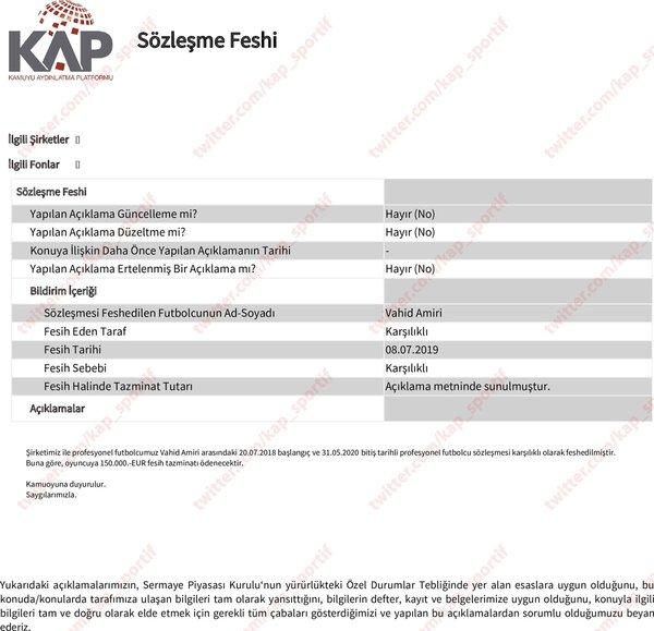 Trabzonspor'da Amiri'nin sözleşmesi feshedildi 2