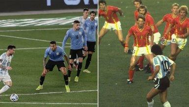 Lionel Messi Diego Armando Maradona'nın fotoğraflarını canlandırdı