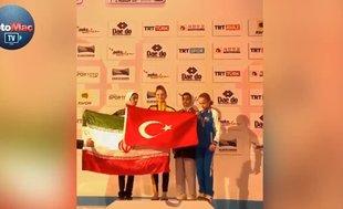 Milli sporcudan İranlı rakibine bayrak dersi