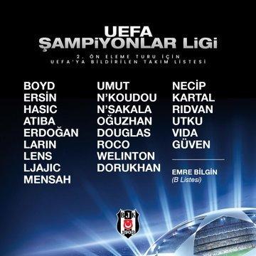 besiktasin uefa sampiyonlar ligindeki paok maci kadrosu aciklandi 1598003217377 - Beşiktaş'ın UEFA Şampiyonlar Ligi'ndeki PAOK maçı kadrosu açıklandı!