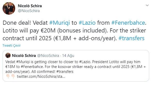 fenerbahce lazio ile anlasmaya vardi iste muriqinin alacagi ucret ve sozlesme detaylari 1598896530389 - Fenerbahçe Lazio ile anlaşmaya vardı! İşte Muriqi'nin alacağı ücret ve sözleşme detayları