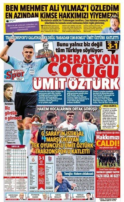 Trabzon'da yerel basın öfke kustu! Ümit Öztürk, Galatasaray...