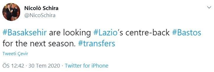 basaksehir lazionun stoperi bastosla ilgileniyor 1596103857598 - Başakşehir Lazio'nun stoperi Bastos'la ilgileniyor