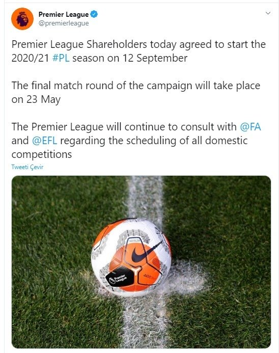 son dakika ingiltere premier ligin baslama tarihi belli oldu 1595598407815 - Son dakika: İngiltere Premier Lig'in başlama tarihi belli oldu!