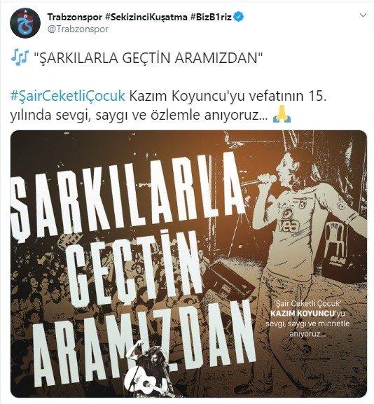 """trabzonspor kazim koyuncuyu unutmadi sarkilarla gecti aramizdan 1593070440153 - Trabzonspor Kazım Koyuncu'yu unutmadı! """"Şarkılarla geçti aramızdan..."""""""