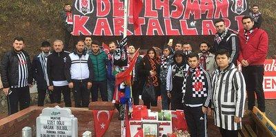 Beşiktaşlı taraftarlar, Şehit Eren Bülbül'ün kabrini ziyaret etti
