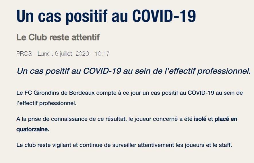 Bordeaux bir oyuncusunda corona virüsü görüldüğünü duyurdu - Fransa Ligue 1 -