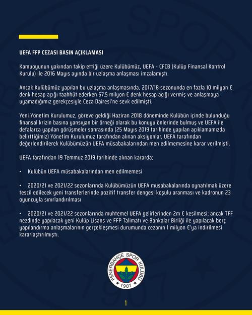 fenerbahceden finansal fair play cezasina iliskin aciklama 1595443288484 - Fenerbahçe'den Finansal Fair Play cezasına ilişkin açıklama!
