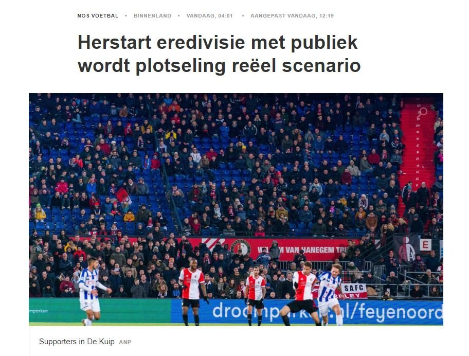hollandada taraftarlar tribune donuyor ancak tezahurat yapmak yasak 1593000250967 - Hollanda'da taraftarlar tribüne dönüyor ancak tezahürat yapmak yasak!