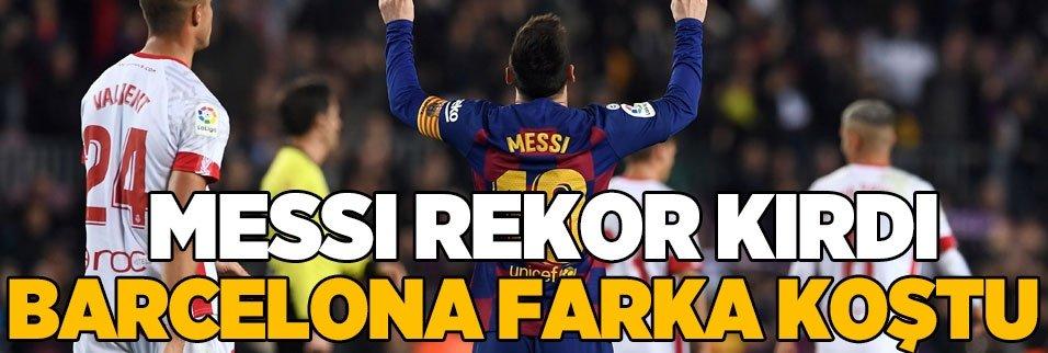 Messi rekor kırdı Barcelona farka koştu