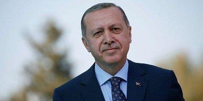 Başkan Recep Tayyip Erdoğan ekranda