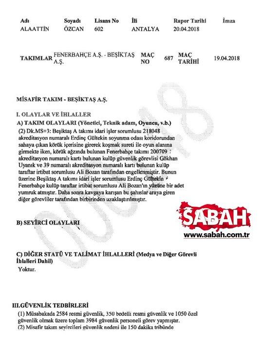 Olaylı Fenerbahçe - Beşiktaş maçının temsilci raporu ortaya çıktı