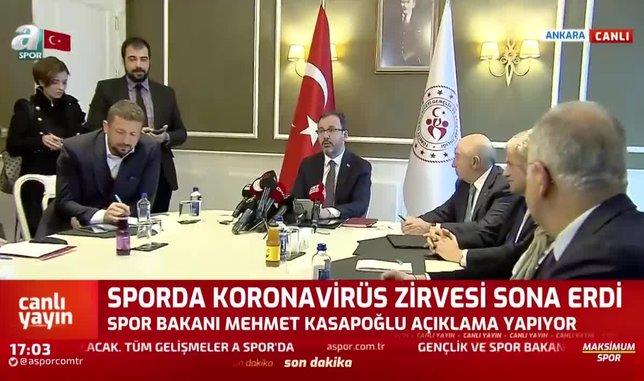 Gençlik ve Spor Bakanı Kasapoğlu: Liglerin ertelenmesine karar verdik
