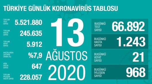 son dakika saglik bakani fahrettin koca guncel corona virusu rakamlarini acikladi 13 agustos 1597338365833 - Sağlık Bakanı Fahrettin Koca güncel corona virüsü rakamlarını açıkladı (13 Ağustos)