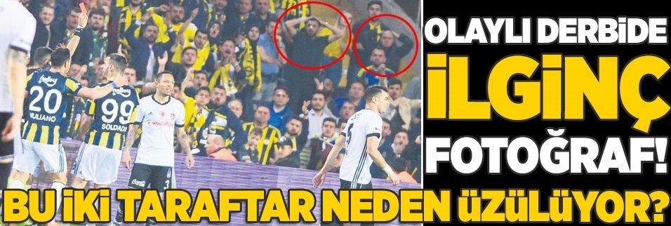 Olaylı Fenerbahçe-Beşiktaş derbisinde ilginç fotoğraf!