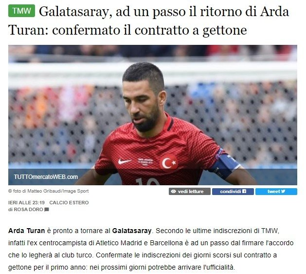 italyanlar transferi duyurdu ardan turan galatasaraya 1595769841356 - İtalyanlar transferi duyurdu! Ardan Turan Galatasaray'a...