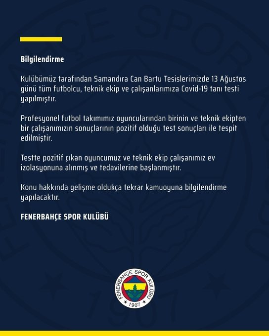 son dakika fenerbahcede corona virusu soku 1 futbolcu 1597349321801 - Son dakika: Fenerbahçe'de 2 ismin corona virüsü test sonucu pozitif!