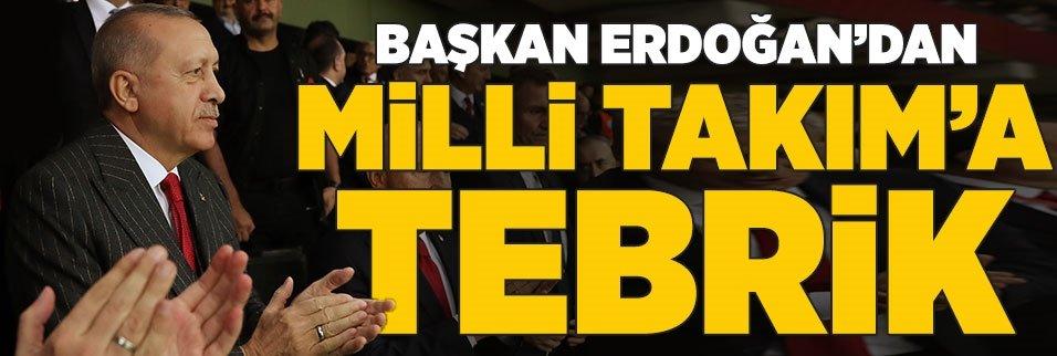 Başkan Erdoğan'dan A Milli Takım'a tebrik!
