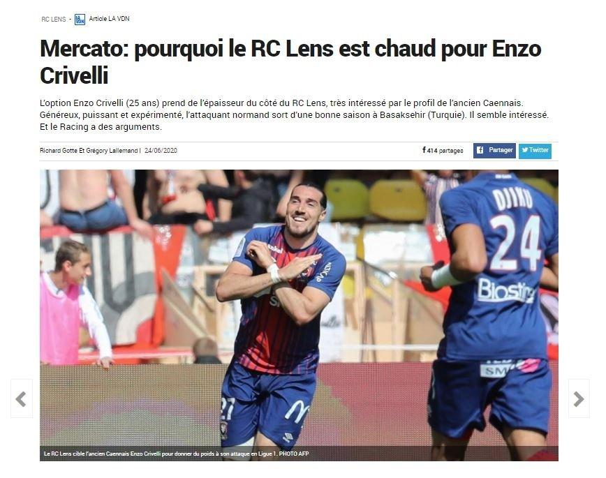 fransiz ekibi lens enzo crivelliyi gozune kestirdi 1593166016076 - Fransız ekibi Lens Enzo Crivelli'yi gözüne kestirdi!