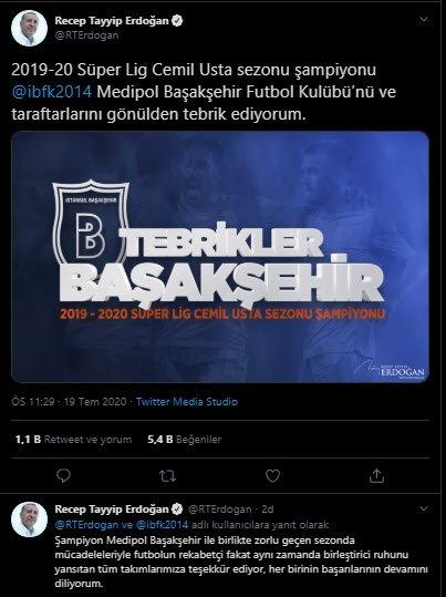 baskan erdogandan sampiyon basaksehire tebrik 1595191219161 - Başkan Erdoğan'dan şampiyon Başakşehir'e tebrik!