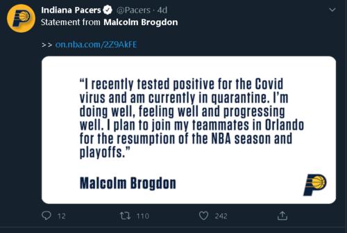 indiana paccersin yildizi brogdon corona virusune yakalandi 1593020185777 - Indiana Pacers'ın yıldızı Brogdon corona virüsüne yakalandı