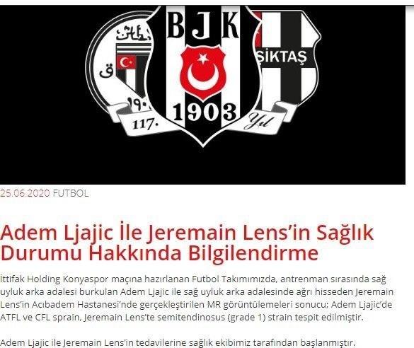 besiktasta flas sakatlik lens ve ljajic 1593097404933 - Beşiktaş'ta flaş sakatlık! Lens ve Ljajic...