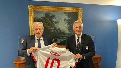 Servet Yardımcı'dan İtalya Futbol Federasyonu Başkanı Gravina'ya ziyaret