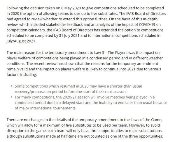 son dakika fifa 5 oyuncu degisikligi hakkini 202021 sezon sonuna kadar uzatti 1594822860551 - Son dakika: FIFA 5 oyuncu değişikliği hakkını 2020/21 sezon sonuna kadar uzattı