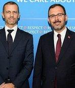 Kasapoğlu ve Özdemir'den UEFA Başkanı Caferin'e ziyaret