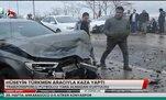 Hüseyin Türkmen aracıyla kaza yaptı