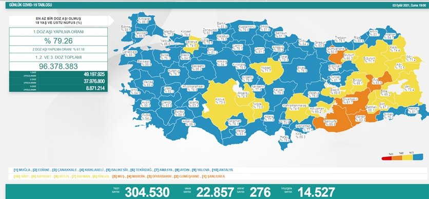 Sağlık Bakanı Fahrettin Koca güncel corona virüsü rakamlarını açıkladı 3 Eylül koronavirüs tablos... 14