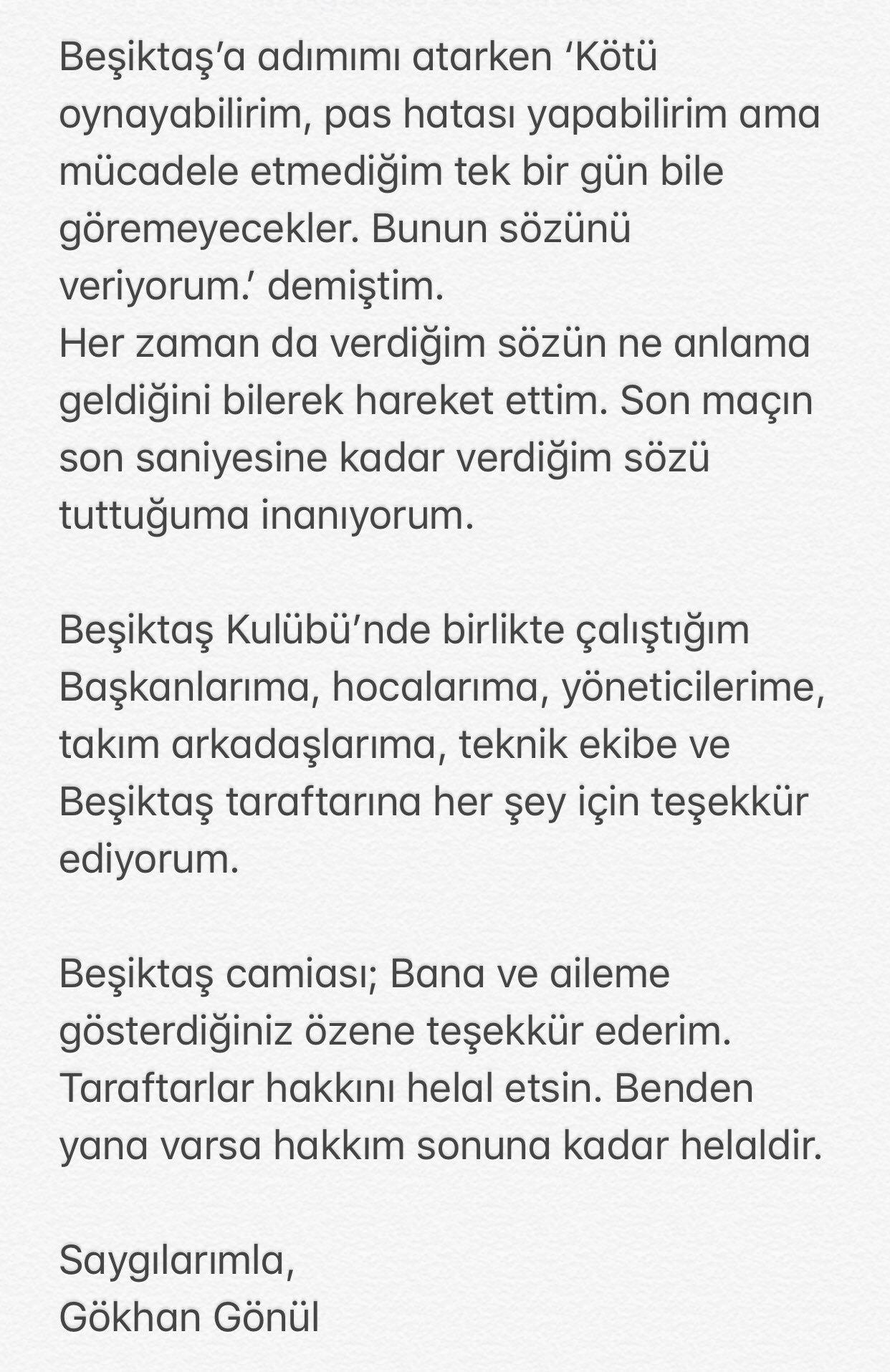 son dakika gokhan gonul besiktasa veda etti 1596716058281 - Son dakika: Gökhan Gönül Beşiktaş'a veda etti