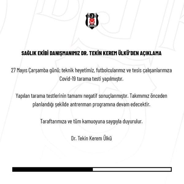 Beşiktaş corona virüsü test sonuçlarını duyurdu! - Futbol -