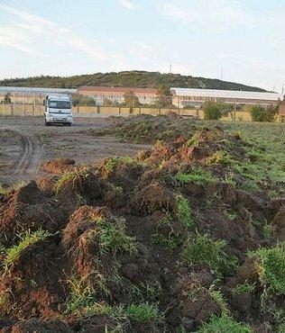 Aliağa ilçe stadında çimler yenileniyor