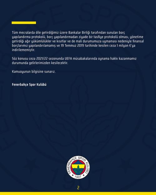 fenerbahceden finansal fair play cezasina iliskin aciklama 1595443293259 - Fenerbahçe'den Finansal Fair Play cezasına ilişkin açıklama!