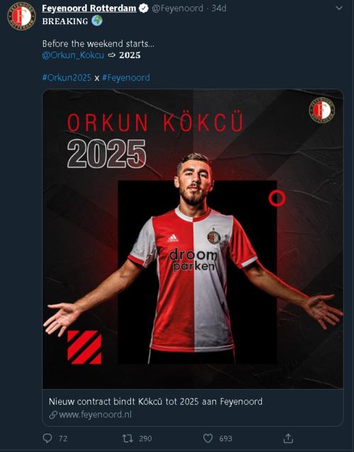 feyenoord orkun kokcunun sozlesmesini 2025 yilina kadar uzatti 1593197864409 - Feyenoord Orkun Kökçü'nün sözleşmesini 2025 yılına kadar uzattı