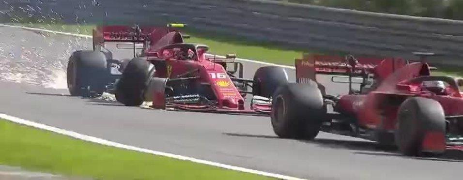 Formula 1'de Ferrari pilotları birbirleriyle çarpıştı!