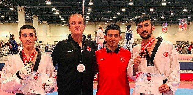 Milli taekwondoculardan ABD'de 4 altın madalya