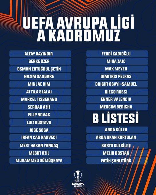 Son dakika spor haberleri | Fenerbahçe'nin UEFA kadrosu belli oldu! İşte A ve B listeleri 14