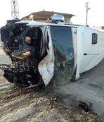 Malatya taraftarını taşıyan otobüs devrildi