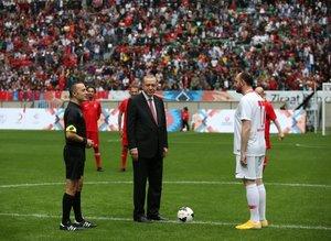 Başkan Erdoğan 'Şöhretler Maçı'nı böyle başlattı