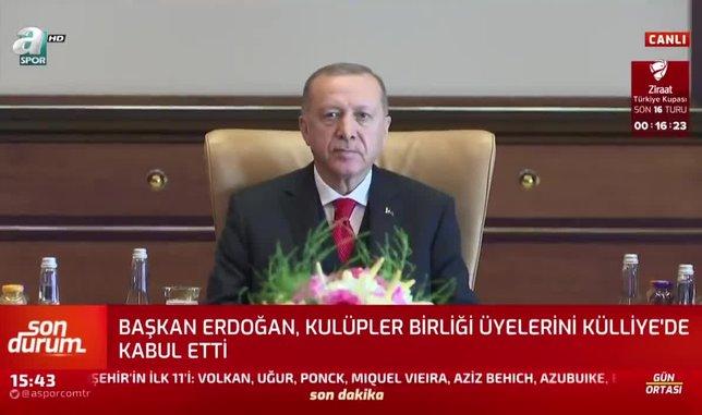 Başkan Recep Tayyip Erdoğan Kulüpler Birliği üyelerini kabul etti