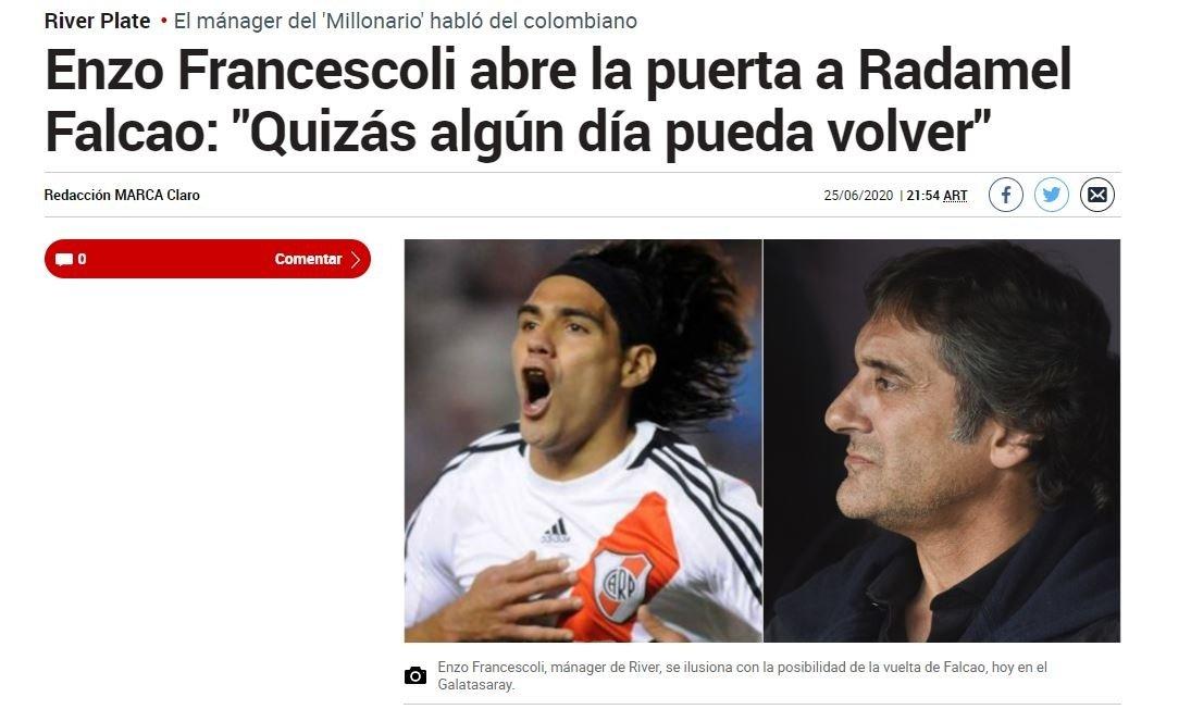 """river platein falcao hayali suruyor hala onu dusunuyoruz 1593172345666 - River Plate'in Falcao hayali sürüyor! """"Hala onu düşünüyoruz"""""""