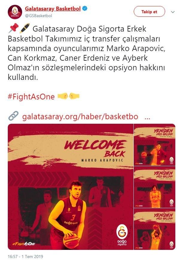 Galatasaray'da 4 basketbolcu takımda kaldı 2