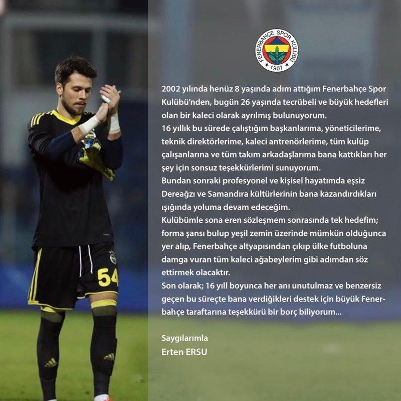 son dakika erten ersu fenerbahceden ayrildi 1596105890639 - Son dakika: Erten Ersu Fenerbahçe'den ayrıldı