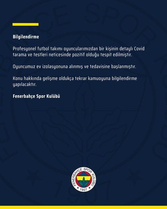 son dakika fenerbahcede corona virusu soku bir futbolcu 1598262259930 - Son dakika: Fenerbahçe'de corona virüsü şoku! Bir futbolcu...