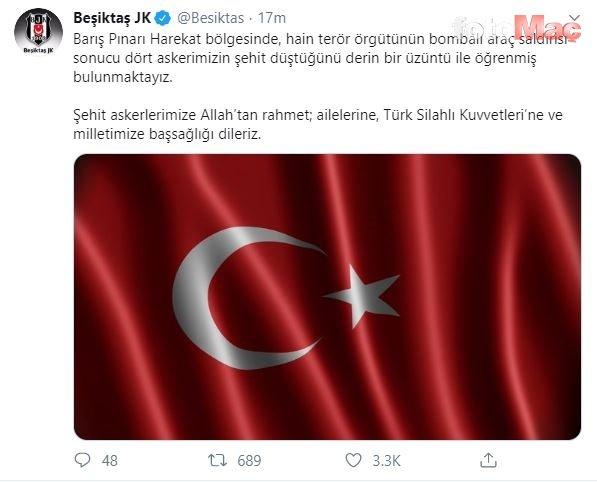 Süper Lig ekiplerinden Barış Pınarı Harekatı şehitleri için başsağlığı mesajı!